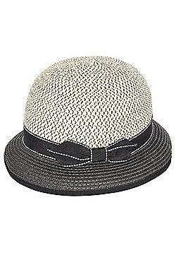 F&F Bow Cloche Hat - Black/Beige