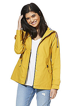 F&F Peached Cotton Shower Resistant Hooded Mac - Mustard