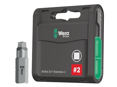Wera Bit-Box 20 H Extra Hard Bits Robertson 2 Square x 25mm 20 Piece