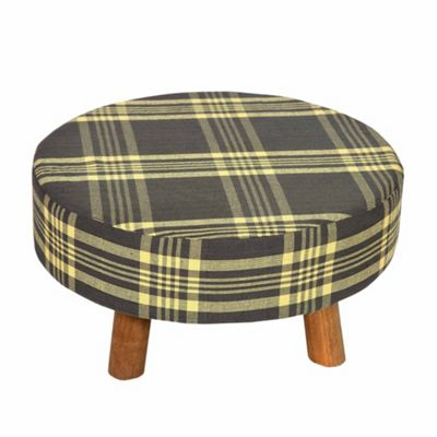 Homescapes Grey and Yellow Tartan Fabric Flat Circular Stool with Wooden Legs
