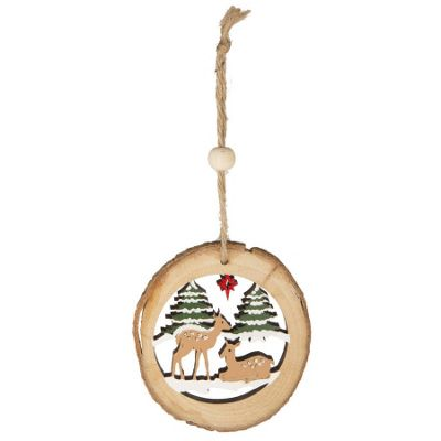 Log Cut Out Christmas Tree Decoration - Deer With Star