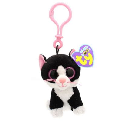 TY Beanie Boo Key Clip Black And White Cat Pepper