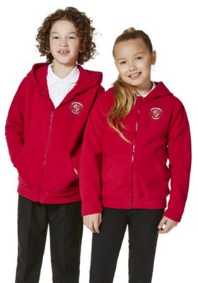 Unisex Embroidered School Zip-Through Fleece with Hood 10-11 yrs Red