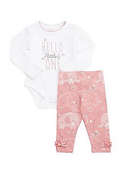 F&F Hello Little One Slogan Bodysuit and Leggings Set - White & Pink