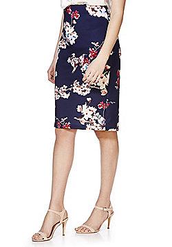 F&F Cherry Blossom Print Scuba Pencil Skirt - Blue