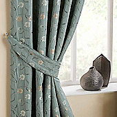 Homescapes Duck Egg Blue Curtains Tie Backs Pair Chintz Flowers