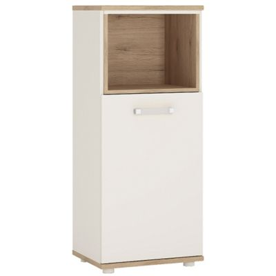 4KIDS 1 door narrow cabinet with open shelf in light oak and white high gloss with opalino handles