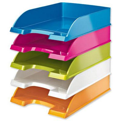 leitz plus wow letter tray stackable glossy w245xd380xh70mm metallic blue
