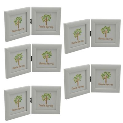 White 4x4 Folding Double Photo Frame - Standing - Pack of 5