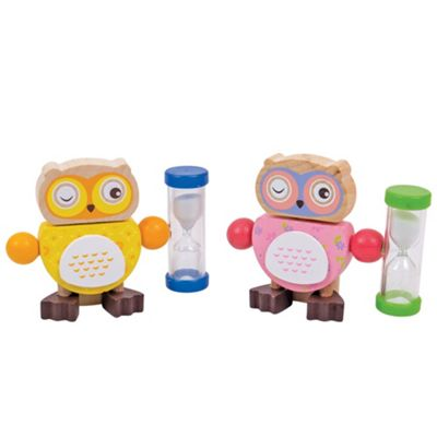 Bigjigs Toys Owl Tooth Brush Timers (Pack of 2 - Yellow and Pink)
