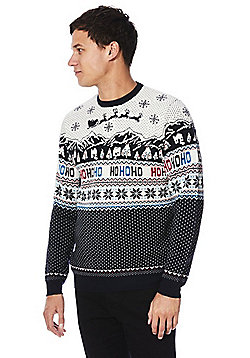 F&F Ho Ho Ho Christmas Scene Light-Up Jumper - Cream & Navy