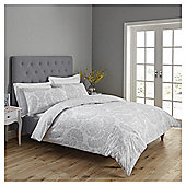 Fox & Ivy Spotty Damask Print Duvet Set - Silver