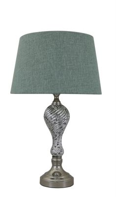 Silver Mercury Ripple Table Lamp with Emerald Green Linen Empire Shade