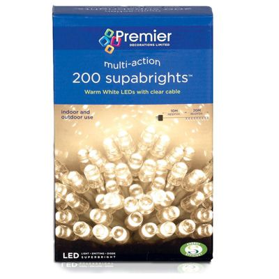 Premier 200 Multi Action Supabright LED Lights - Warm White (Clear Cable)
