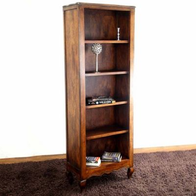 Homescapes Vintage Bookcase New Orleans, Acacia Wood with Distressed Dark Finish