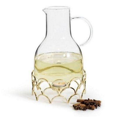 Sagaform Winter Mulled Glass Wine Jug with Warmer Gold Coloured 1.3 Litres