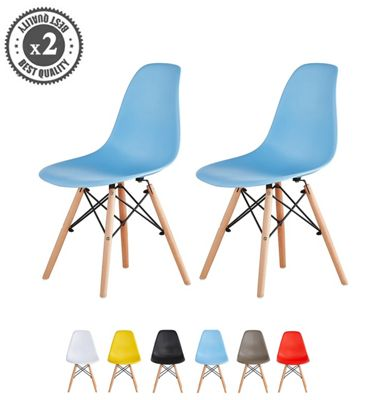 Set of 2 Modern Design Chair Eames Style Dining Chair (Blue) Lia