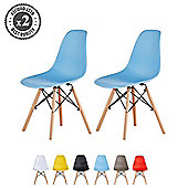 Set of 2 Modern Design Chair Eames Style Dining Chair (Blue)