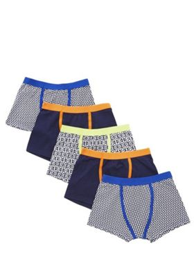 F&F 5 Pack of Geo Trunks with As New Technology 5-6 years Multi