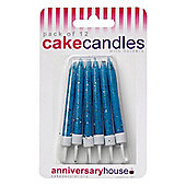 Anniversary House Blue Glitter Candles - Pack Of 12