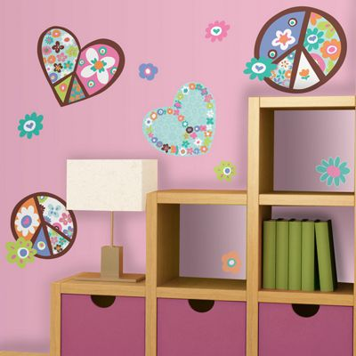 Heart & Peace Signs Wall Stickers