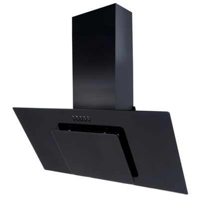 SIA 90cm Black Angled Glass Chimney Cooker Hood Extractor & 1m Ducting Kit