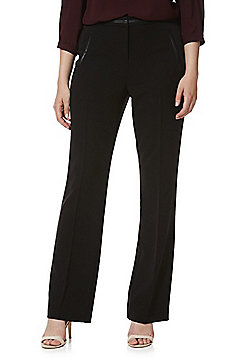F&F Faux Leather Trim Bootcut Trousers - Black