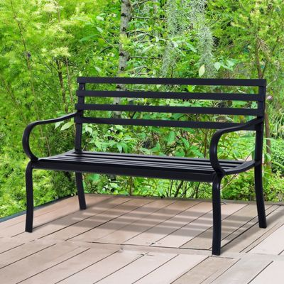 Outsunny Steel Garden Bench Porch Chair Furniture Patio Outdoor Park Loveseat - Black