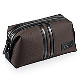 Fred Bennett Mens Brown Canvas Wash Bag with Embossed FB Logo - Y415