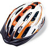 SH+ Pulse Helmet: Orange/White/Silver L/XL.
