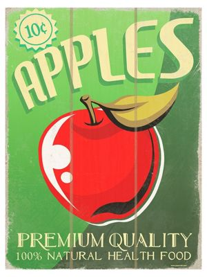 Premium Quality Apples Wooden Wall Art 30x40cm