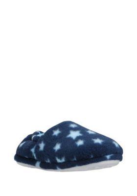 F&F Star Print Fleece Slippers 08-09 Child Navy