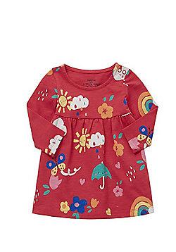 F&F Rainbow Print Jersey Smock Dress - Pink & Multi