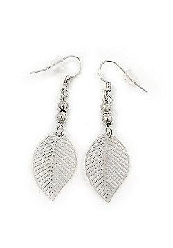 Delicate Filigree 'Leaf' Drop Earrings In Silver Plating - 5cm Length
