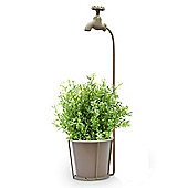 Quirky Vonia Plant Pot and Stand with Tap in Khaki