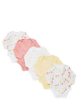 F&F 5 Pack of Blossom and Pointelle Long Sleeve Bodysuits - Multi