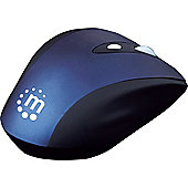 Manhattan Contour Mouse - RightTrack - Wireless - 6 Button(s) - Black, Blue