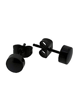 Urban Male Stainless Steel Black Men's Stud Earrings 6mm