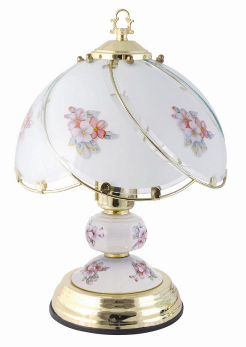 Lloytron 60W Home Essence Pastoral Traditional Porcelain Pink Flower Touch Lamp Polished Brass