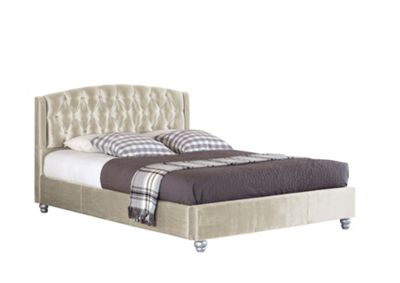 Comfy Living 4ft6 Double Velvet Fabric Bed Frame with Upholstered Headboard in Cream