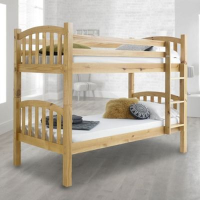 Happy Beds American Wood Kids Bunk Bed with 2 Pocket Spring Mattresses - Honey Pine - 3ft Single