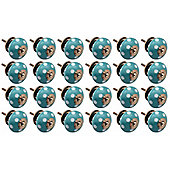 Ceramic Cupboard Drawer Knobs - Polka Dot Design - Turquoise / White - Pack Of 24