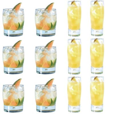 Durobor Bubble Hiball and Tumbler Cocktail Drinking Glass - Set of 12 Glasses