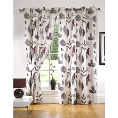 KLiving Floral Riva Aubergine Lined Eyelet Curtains 45x72 Inches