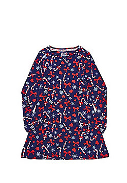 F&F Candy Cane Jersey Christmas Dress - Navy