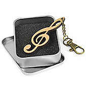 Tiger Wooden Treble Clef Keyring - Musical Notes Keychain