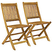 Bentley Garden Pair Of Wooden Outdoor Dining Patio Foldable Chairs