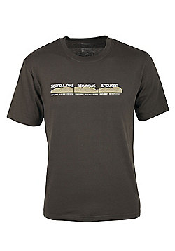 Mens Three Peaks Short Sleeve Fast Drying Breathable Tech Tee T-Sirth Base Layer - Brown