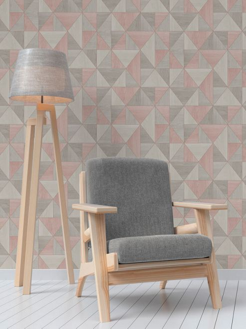 Apex Wood Grain Geometric Wallpaper - Rose Gold and Grey - Fine Decor FD42224