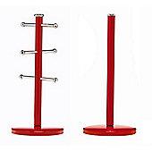 Premier Housewares Mug Tree & Kitchen Roll Holder, Red
